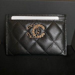 NEW Chanel 20K O Case Card Holder Black Caviar